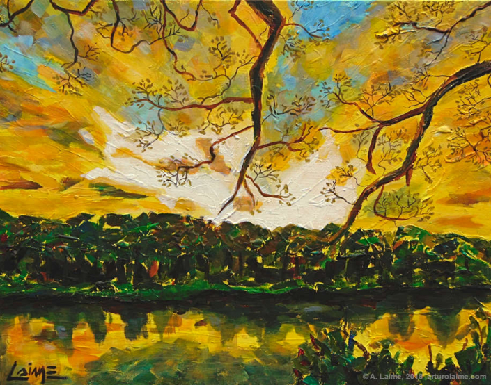 Amazon sunset painting