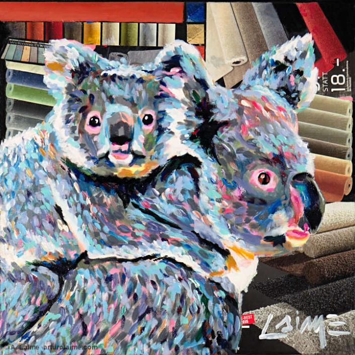 Koalas at the rugstore painting