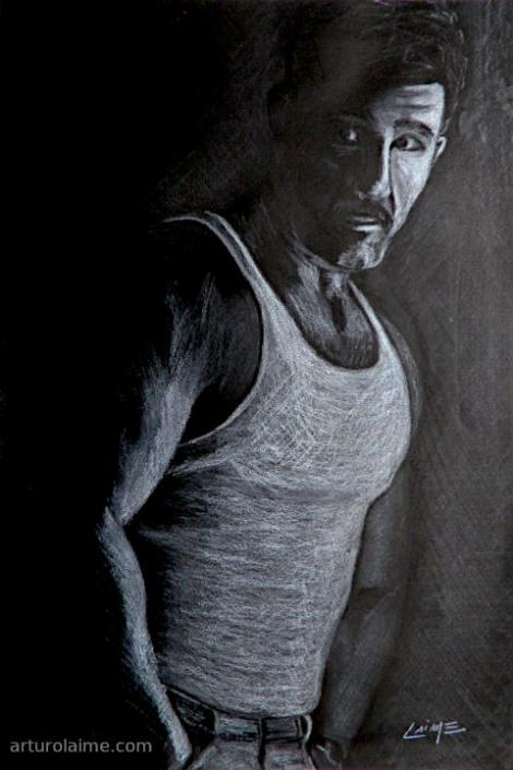 Man in undershirt artwork on paper
