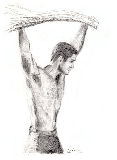 Man under a branch artwork on paper