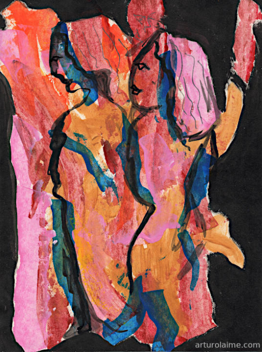 two sisters artwork on paper