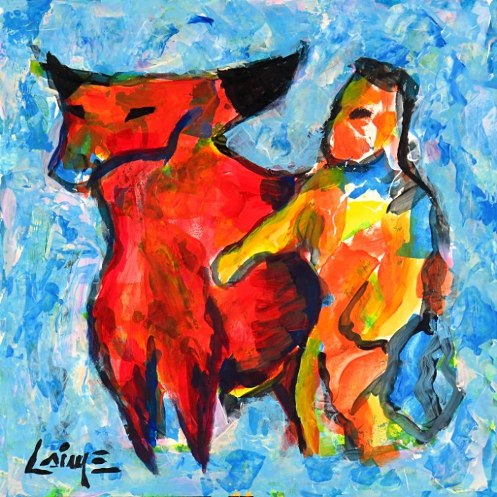 Man and bull arwork on paper